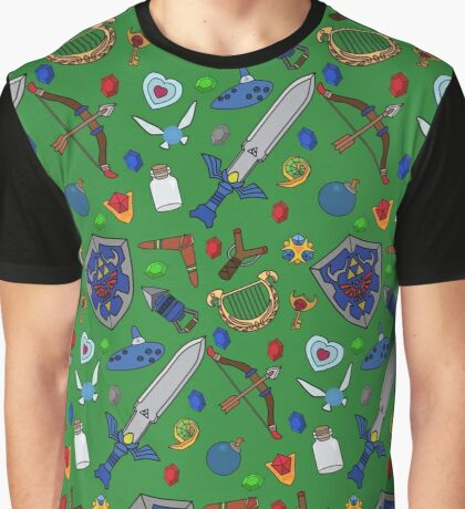 Legend of Zelda Items Graphic T-Shirt