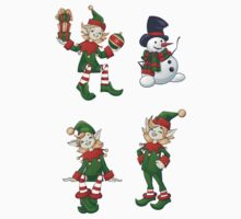 set of Santa helpers elf and snowman by Ryna Synentchenko