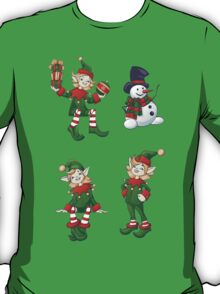 set of Santa helpers elf and snowman T-Shirt