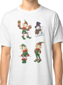set of Santa helpers elf and snowman Classic T-Shirt