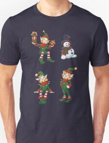 set of Santa helpers elf and snowman Unisex T-Shirt