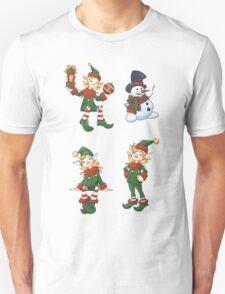 set of Santa helpers elf and snowman T-Shirt