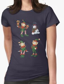 set of Santa helpers elf and snowman Womens Fitted T-Shirt
