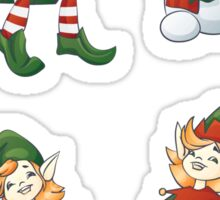 set of Santa helpers elf and snowman Sticker