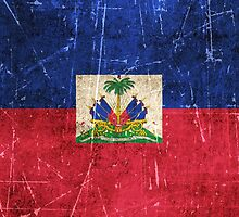 Vintage Aged and Scratched Haitian Flag by Jeff Bartels