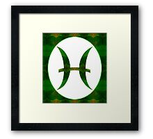 Pices Symbol and Heart Chakra Abstract Spiritual Artwork  Framed Print