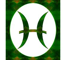 Pices Symbol and Heart Chakra Abstract Spiritual Artwork  Photographic Print