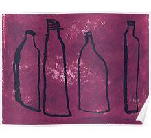 4 empty bottles Poster