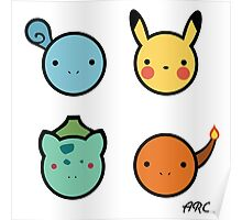 Cute Starter Pokemon Poster