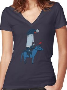 Napoleon and his Horse Women's Fitted V-Neck T-Shirt