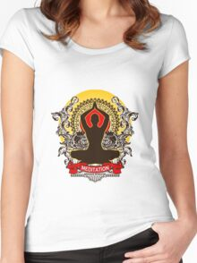 Meditation brings wisdom Women's Fitted Scoop T-Shirt