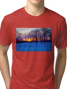 SCENIC SNOW SUNSET Tri-blend T-Shirt