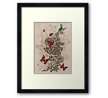 Roses and Butterfly Framed Print