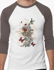 Roses and Butterfly Men's Baseball ¾ T-Shirt