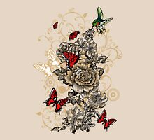 Roses and Butterfly Womens Fitted T-Shirt