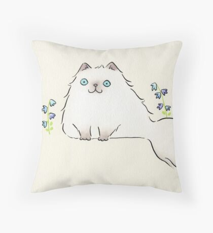 Pale Himalayan Persian Cat with Blue Flowers Throw Pillow