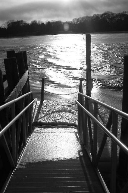 boat dock winter by Brennen Cole