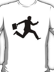 Jumping running business man T-Shirt