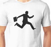 Jumping running business man Unisex T-Shirt