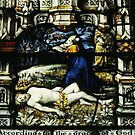 Stained glass Malvern Priory Greater Malvern England 198405180077 by Fred Mitchell