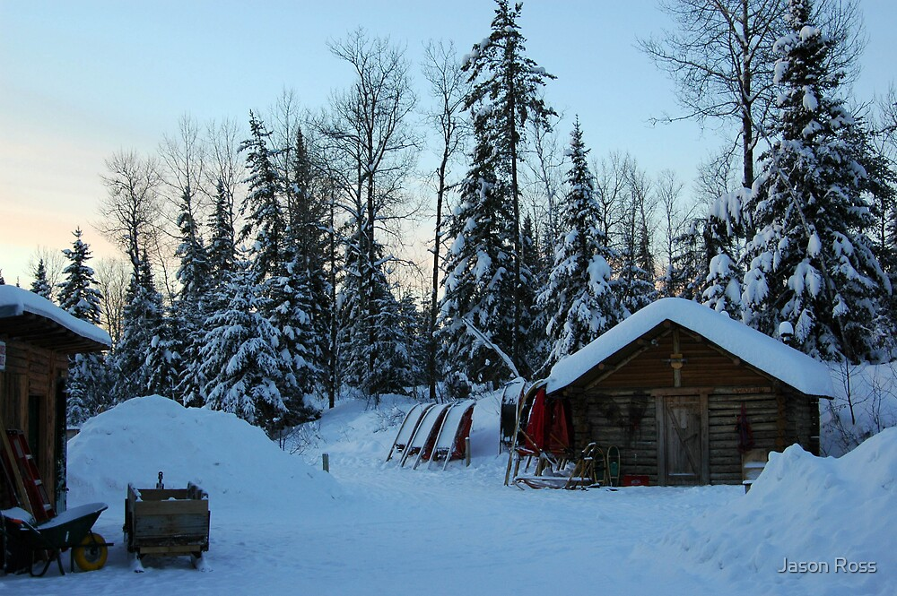 winter cabin and sleds by Jason Ross