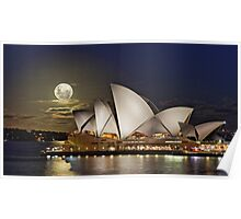 Full moon rising over the sails of the Sydney Opera House Poster