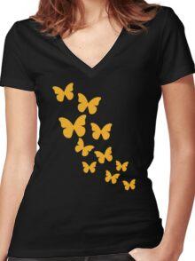 Yellow butterflies Women's Fitted V-Neck T-Shirt