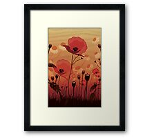 Poppies on woodgrain Framed Print