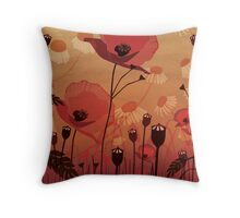 Poppies on woodgrain Throw Pillow
