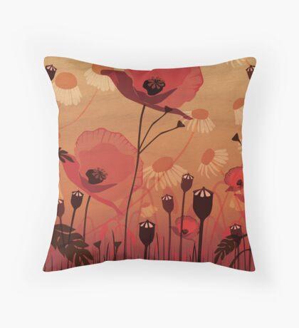 Poppies on woodgrain Throw Pillow