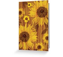 Sunflower on woodgrain Greeting Card
