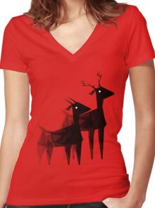 Geometric animals 4 Women's Fitted V-Neck T-Shirt
