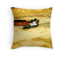 Tug and Coal Barge --- looking for water Throw Pillow