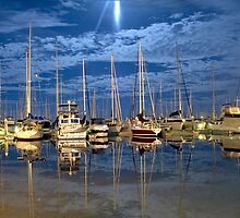 Moored boats by Esther Cole