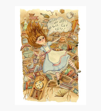 Alice in Wonderland. Alice is falling down into the rabbit hole.  Photographic Print