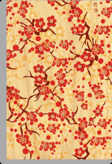 Japanese blossom art vector illustration by Lara Allport