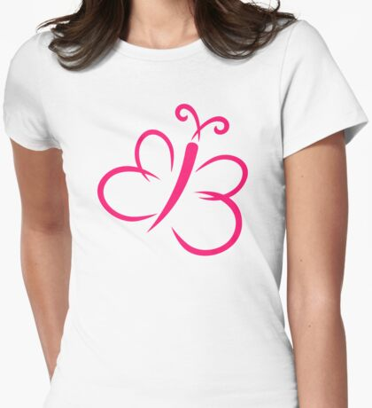 Pink butterfly Womens Fitted T-Shirt