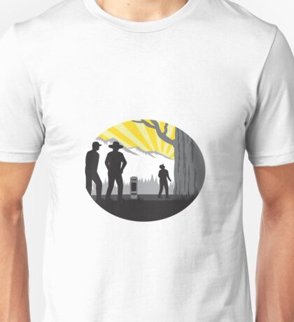 Trampers Mile Marker Giant Tree Oval Woodcut Unisex T-Shirt