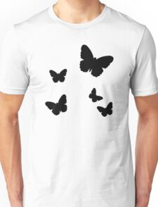 Black butterflies Unisex T-Shirt