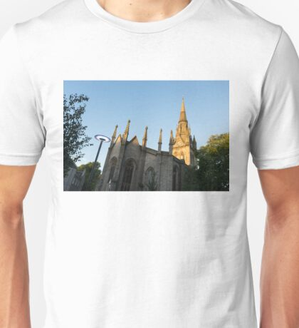 Silver and Gold - Sunrise Lit Kirk of St Nicholas Uniting in Aberdeen Scotland Unisex T-Shirt