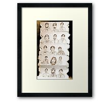 15 men, drawing on cardboard Framed Print