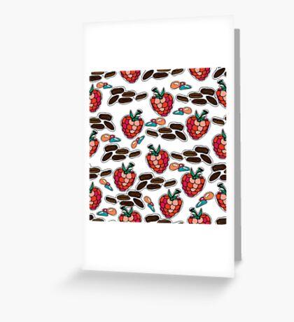 Dessert. Seamles pattern. Raspberries, candies,  coffee.  Greeting Card