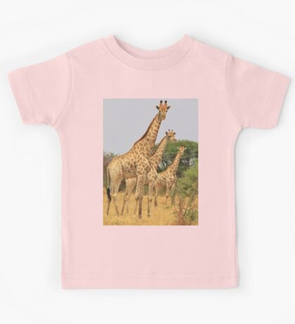 Giraffe Symmetry - African Wildlife Background Kids Tee
