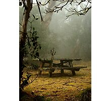 alone on a foggy mountain top Photographic Print