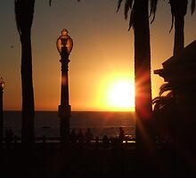 Sunset at Santa Monica Beach by Chaos