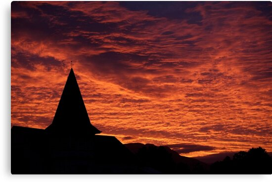 old church on sunset by stickelsimages