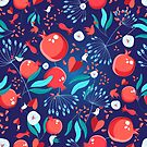 Seamless bright pattern pomegranates by Tanor