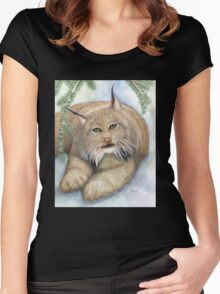 """LINUS""  Canadian Lynx, First Snow Women's Fitted Scoop T-Shirt"