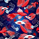 Seamless bright pattern lovers red fish by Tanor