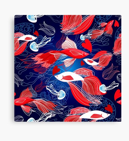 Seamless bright pattern lovers red fish Canvas Print